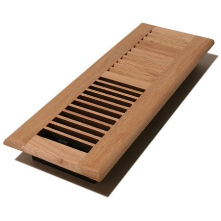 V410-UO - 4-Inch by 10-inch Wood Louver Floor Register-Vent Unfinished