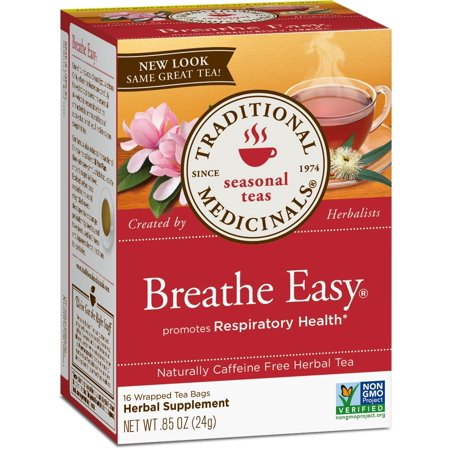 Breathe Easy Tea, 16 Tea Bags (Pack of 6), Promotes Respiratory Health* By Traditional Medicinals Ship from US