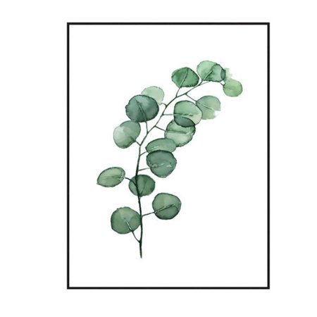 Modern Green Plant Leaf Printing Canvas Art Poster Print Wall Picture Home Decor Gift (without Frame) Style:L-075 Size:30x40cm