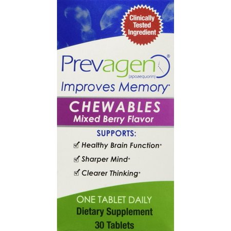 Prevagen for Healthier Brain, Sharper Mind and Clearer Thinking, Dietary Supplement 30 Chewable Mixed Berry Flavor