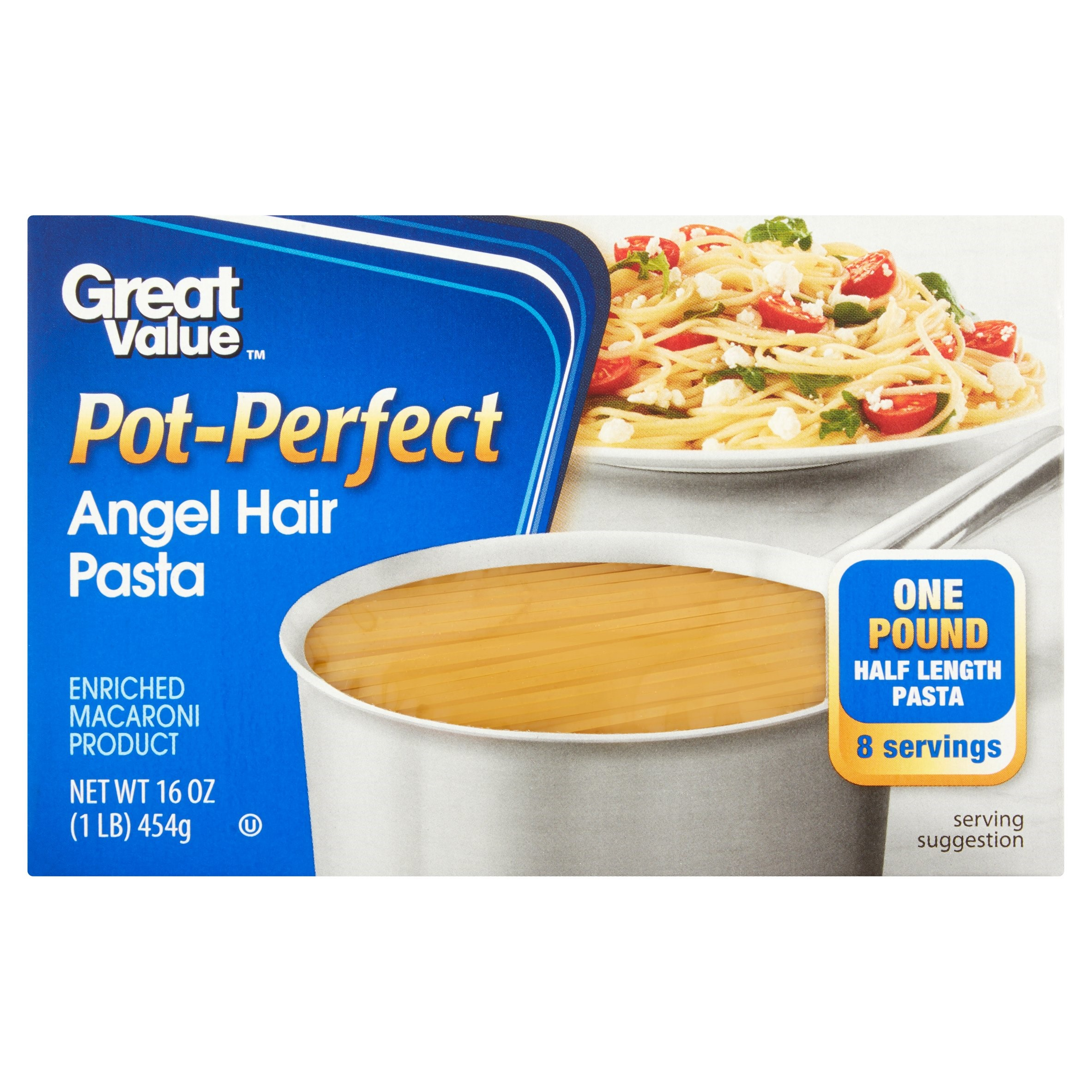 (4 pack) Great Value Pot Perfect Angel Hair Pasta, 16 oz