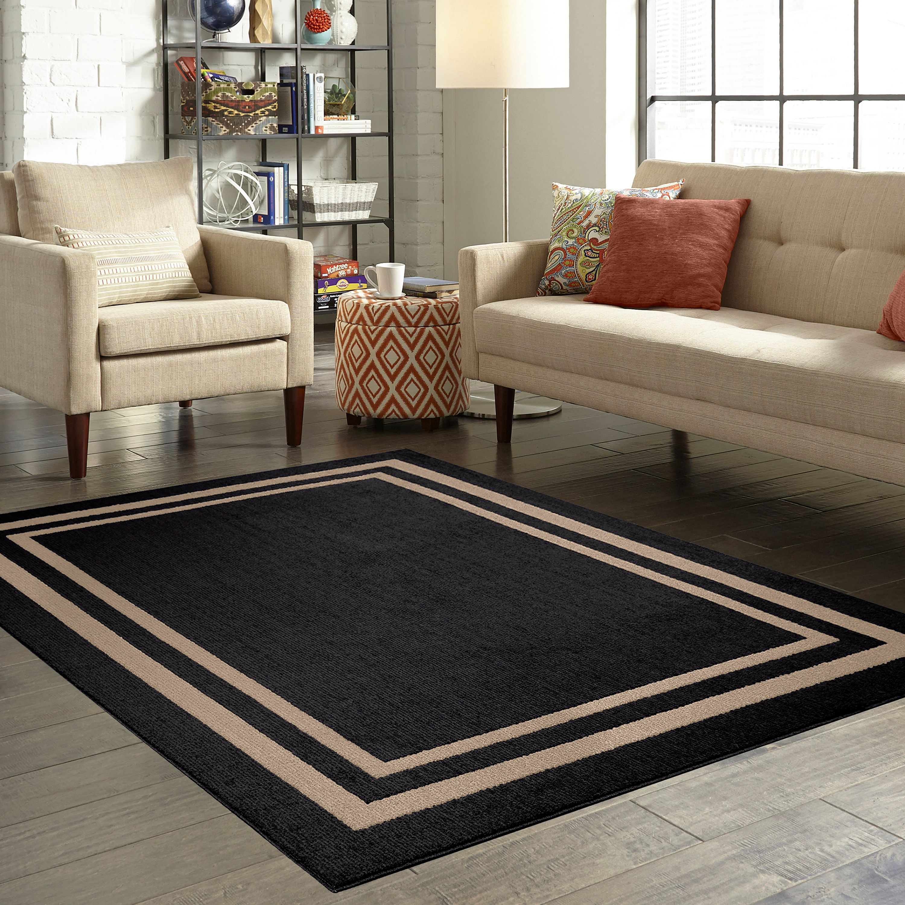 Mainstays Frame Border Area Rugs Or Runner Walmart Com