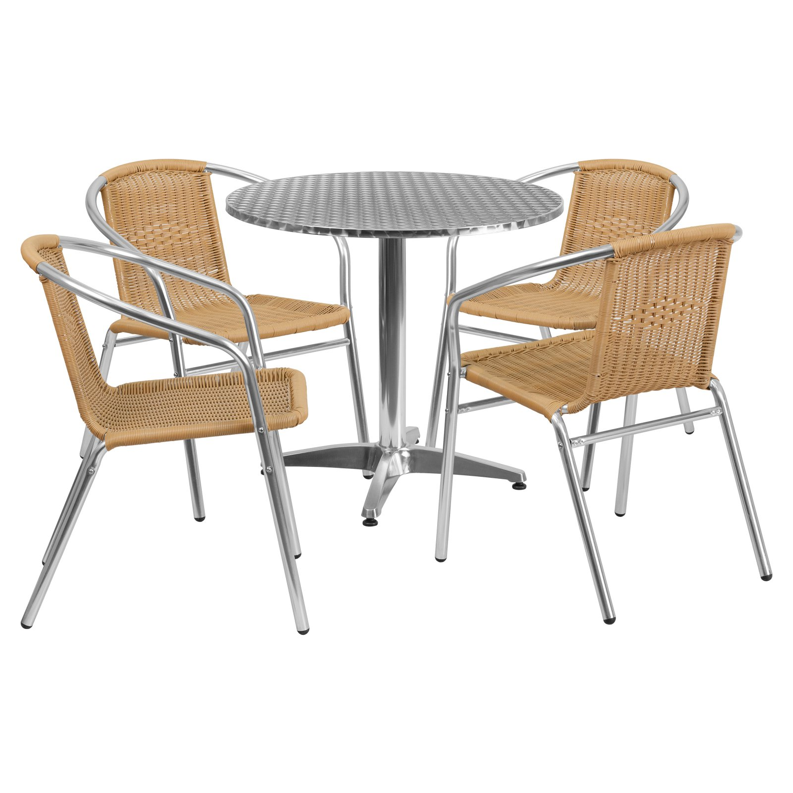Flash Furniture 31.5'' Round Aluminum Indoor-Outdoor Table with 4 Rattan Chairs, Multiple Colors
