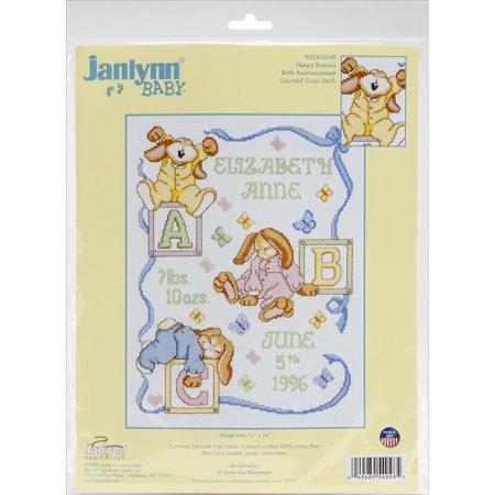 Sampler Counted Cross Stitch Leaflet - Janlynn Sleepy Bunnies Sampler Counted Cross Stitch Kit, 11