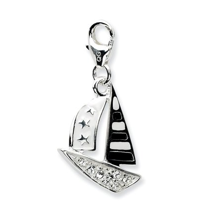 Mia Diamonds 925 Sterling Silver with Rhodium-Plated 3-D Enameled Sailboat with Lobster Clasp (Sailboat Clasp)