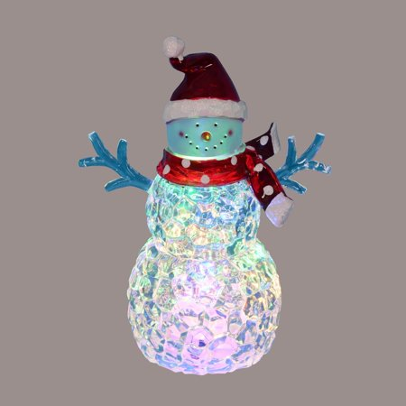 """8.5"""" Battery Operated LED Lighted Snowman with Scarf and Santa - Santa Hat With Lights"""