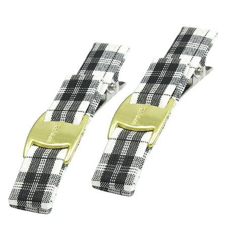 2 X Siver Tone Metal Alligator Clip Checked Fibre Decor Black White Hairclips