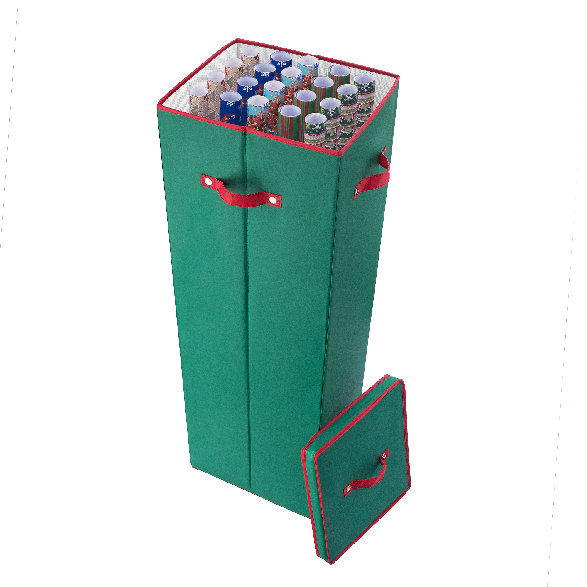 Elf Stor 40 Inch Tall Wrapping Paper Storage Box with Lid, Green