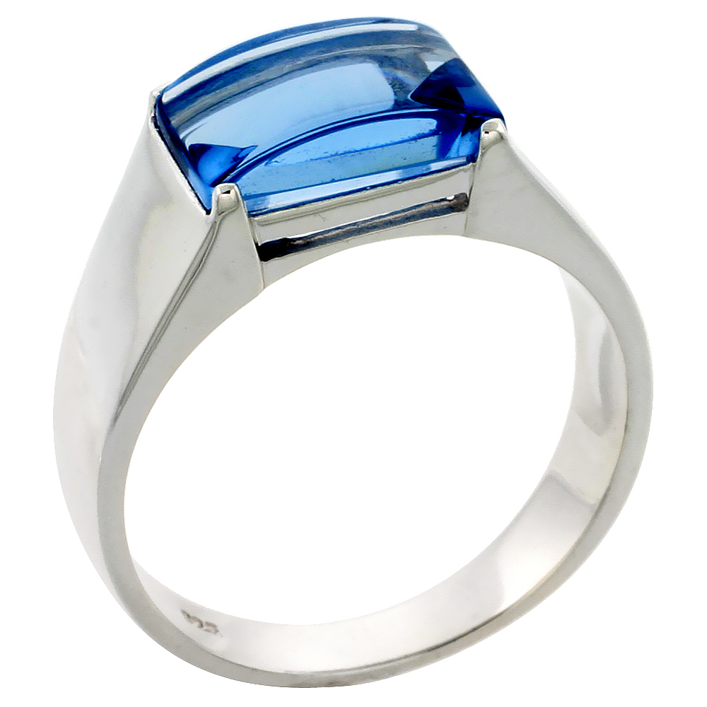 Mens Sterling Silver Blue Topaz Cubic Zirconia Ring Cabochon Stone, sizes 8 to 13 by WorldJewels