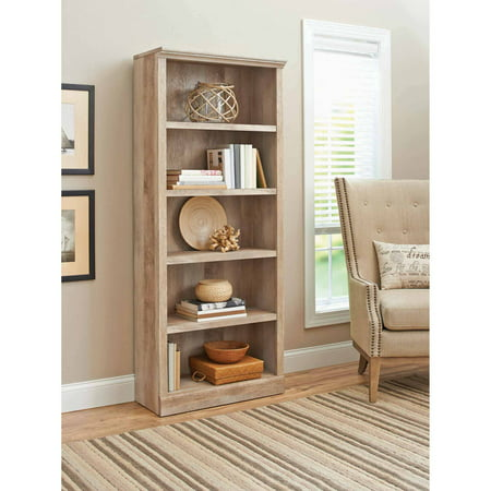 Better Homes & Gardens 71u0022 Crossmill 5-Shelf Bookcase, Weathered Finish