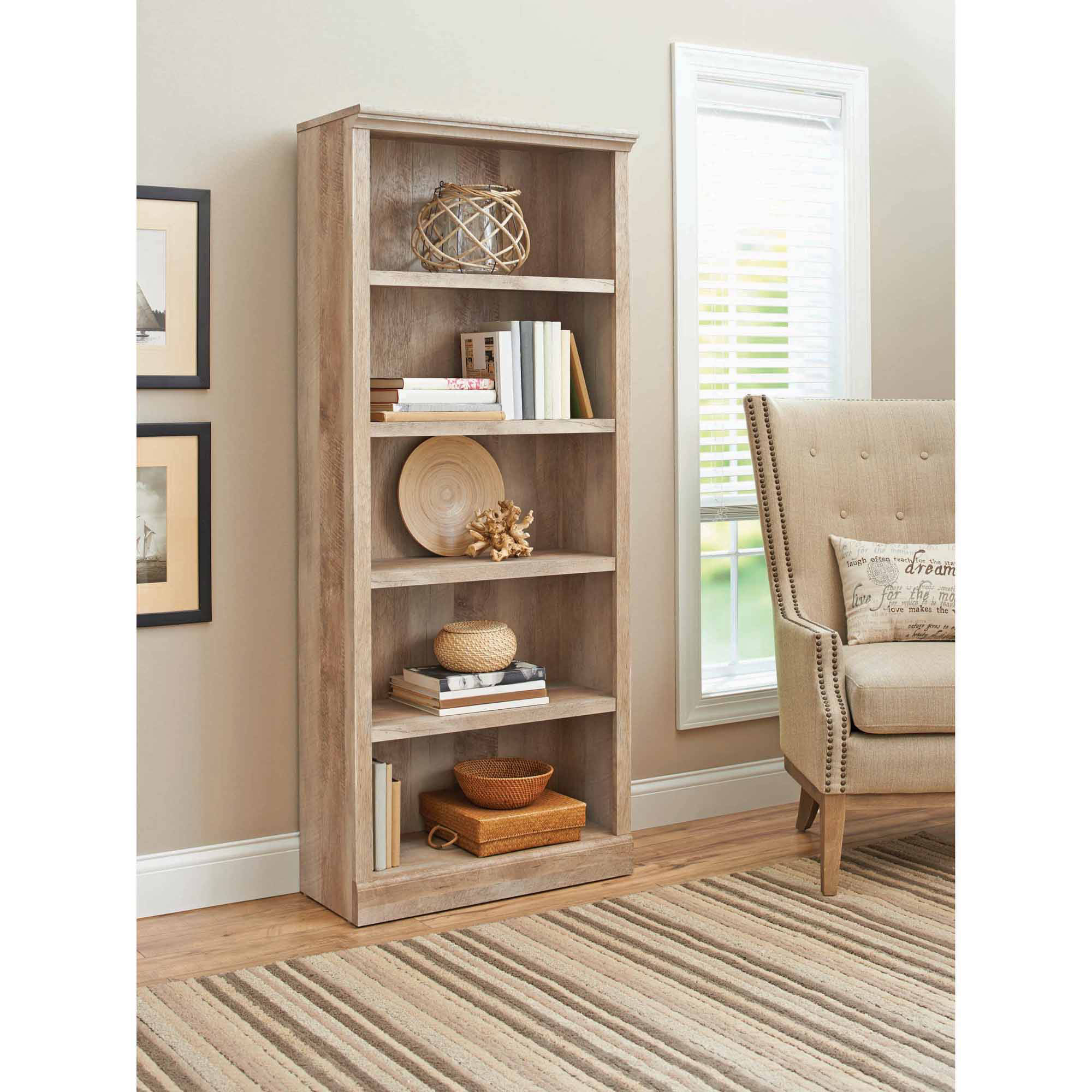 Better Homes and Gardens Crossmill 5-Shelf Bookcase, Multiple Finishes