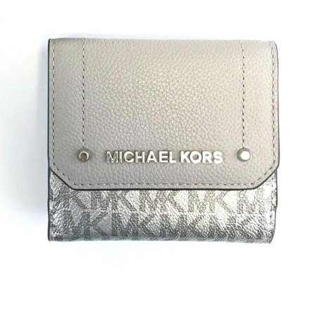 NEW WOMENS MICHAEL KORS HAYES SIGNATURE METALLIC MEDIUM TRIFOLD COIN CASE WALLET (Metallic Flat Wallet)