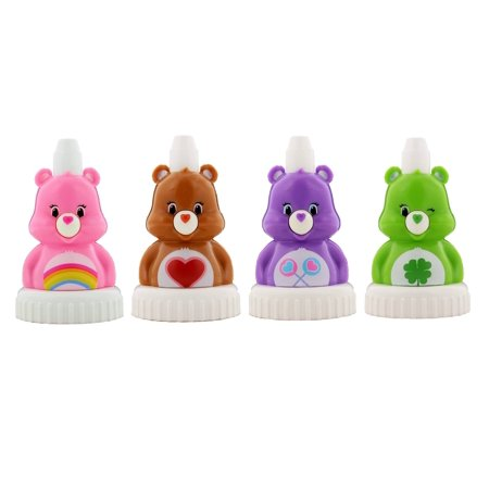 good2grow spill-proof bottle toppers 4-pack, Care Bears - Cheer Bear, Tenderheart Bear, Share Bear & Good Luck Bear - Cheer Carebear