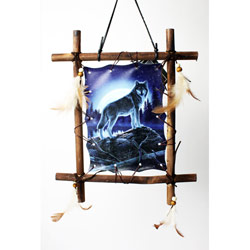 """11"""" Wolf Print Decorative Square Dream Catcher with Feathers - Wildlife Artistry"""