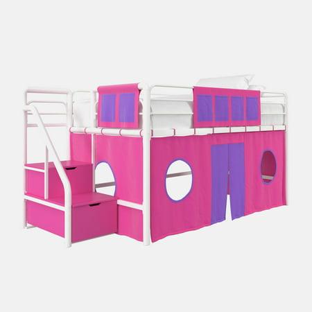 DHP Junior White Loft Bed with Pink Storage Steps and Pink Curtain Set, Kid's Bundle, - Loft Storage