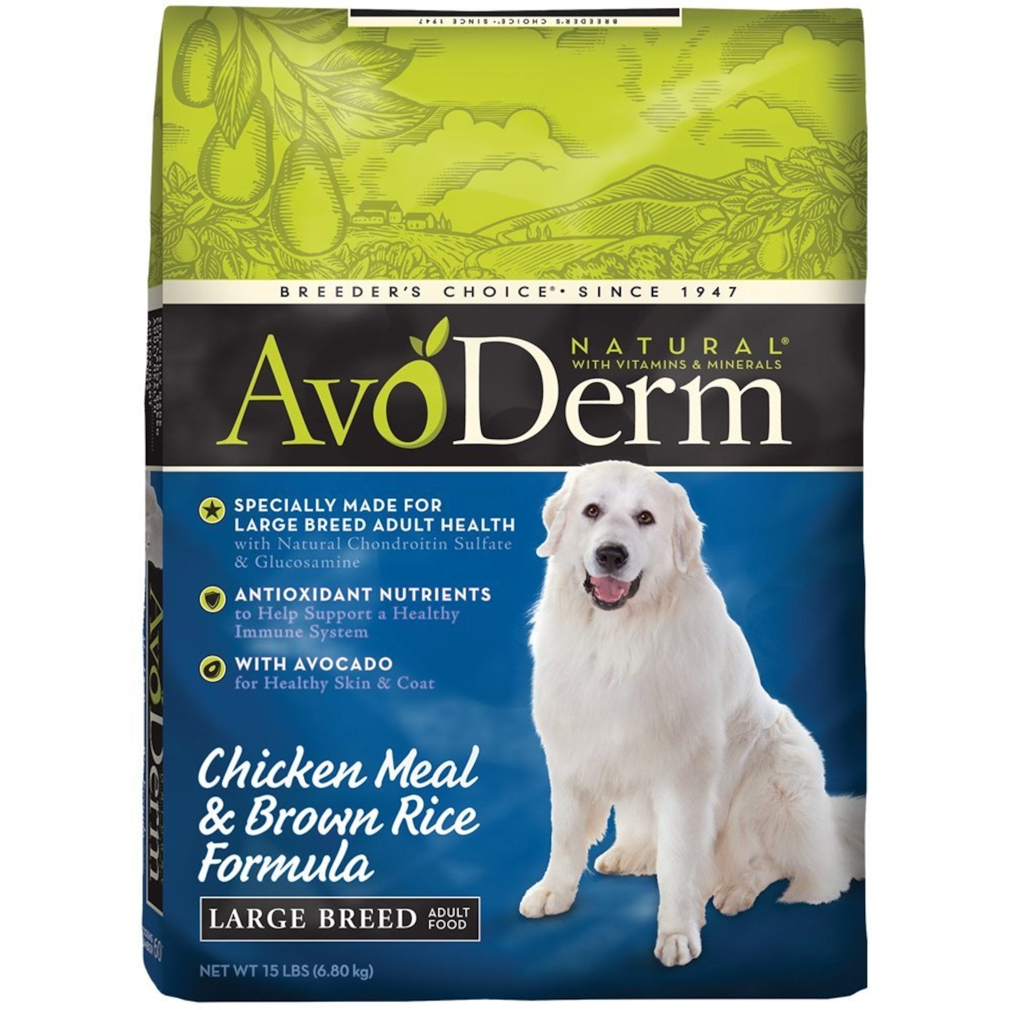 AvoDerm Natural Chicken Meal and Brown Rice Formula Large Breed Adult Food, 15-Pound