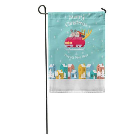 KDAGR Santa Claus and Rudolph The Red Nose Reindeer Driving Shiny Garden Flag Decorative Flag House Banner 12x18 inch