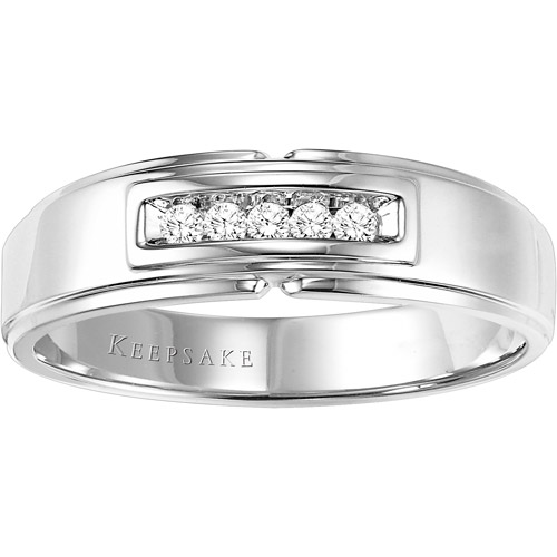 Keepsake Men's Brave Diamond-Accent 10kt White Gold Wedding Band by Frederick Goldman