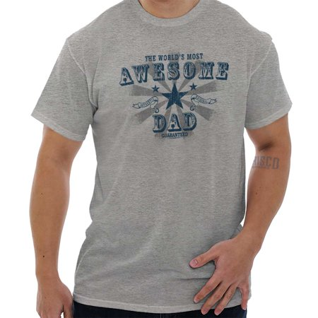 Brisco Brands Worlds Most Awesome Dad Gift Mens Short Sleeve (Most Expensive Brands For Men)