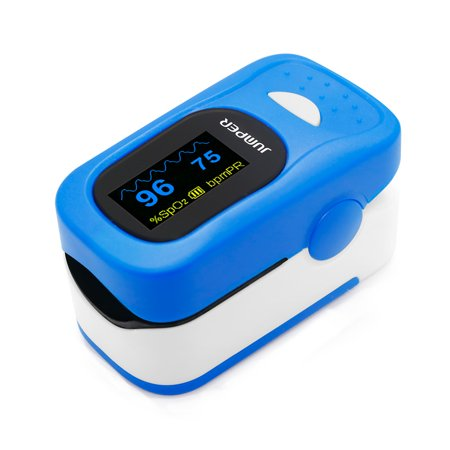 JUMPER 500A Fingertip Pulse Oximeter Oximetry Blood Oxygen Saturation Monitor Heart Rate Monitor Pulse Oximeter for Sports Home Health Care with Carrying Case Batteries and Lanyard, Blue