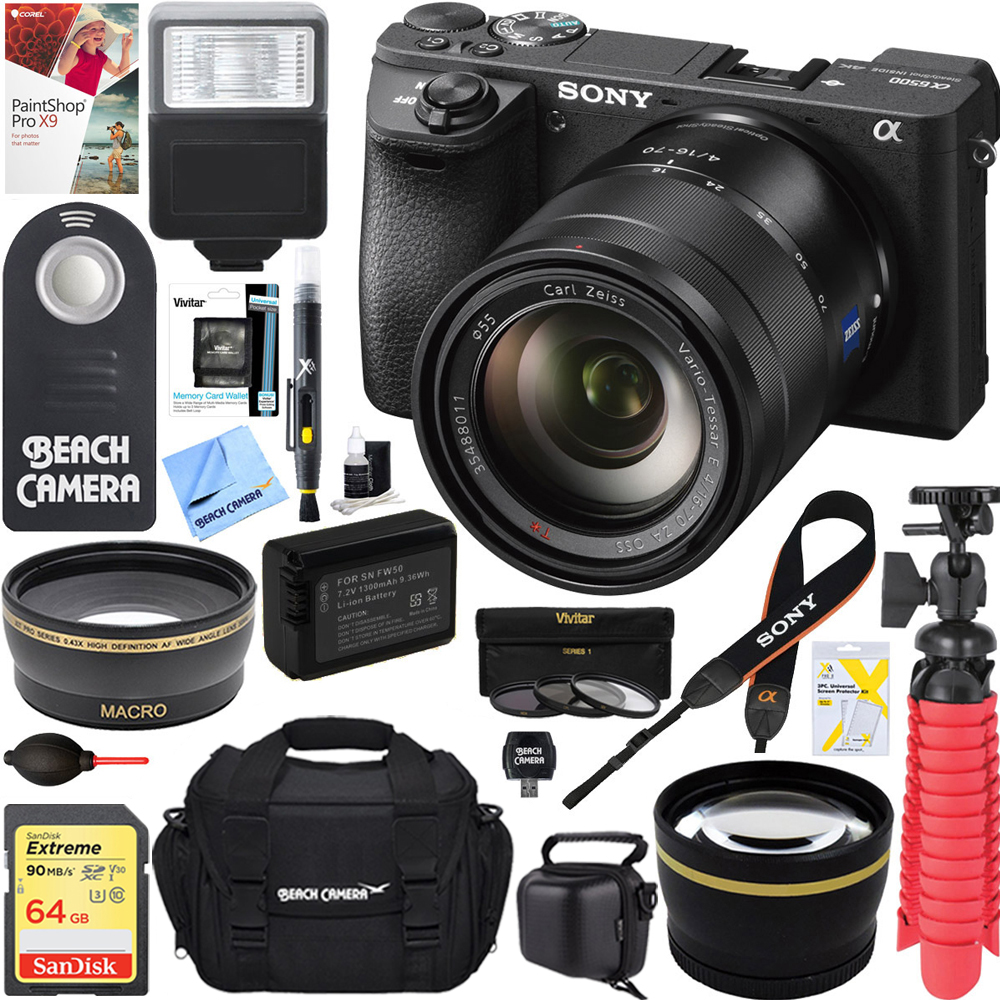 Sony ILCE-6500 a6500 4K Mirrorless Camera with 16-70mm Mid-Range Zoom Lens + 64GB SDXC Memory Card + 0.43x Wide Angle + 2.2x Telephoto Lens Converter + Carrying Case + Memory Card Reader + Tripod+Mor