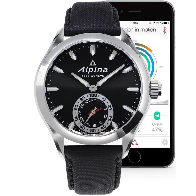 Alpina Men's Horological Smartwatch 44mm Black Leather Band Steel Case Quartz Analog Watch AL-285BS5AQ6