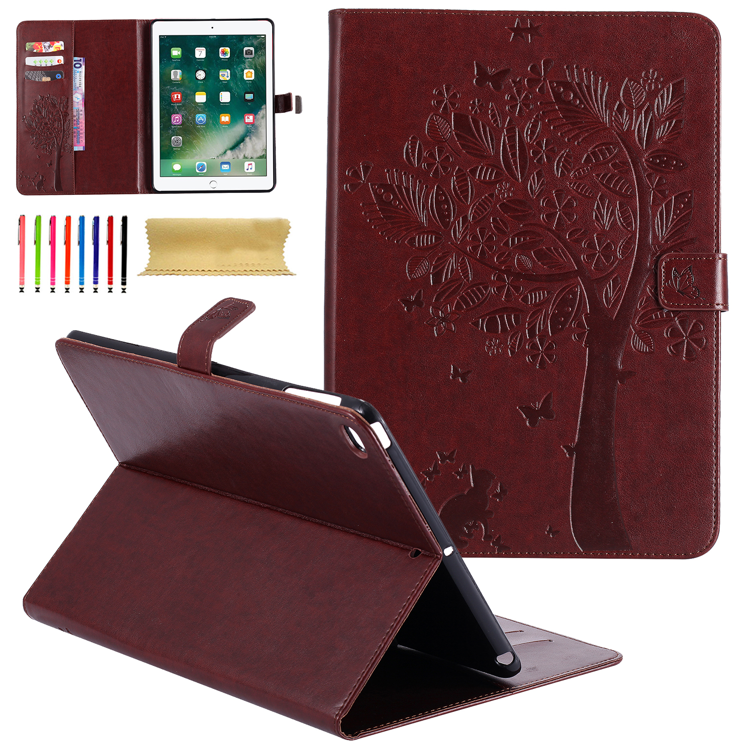 """iPad Air 2 Case, Goodest Embossed Butterfly Tree & Cat Magnetic PU Leather Smart Case with Auto Sleep/Wake-up & Card Slots Stand Cover for 9.7"""" Apple Air 2, Coffee"""