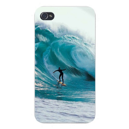 Waves Design Snap (Apple Iphone Custom Case 4 4s Snap on - Surfer Riding Large Wave in Ocean Design 2 )