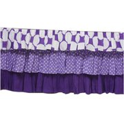 Bacati - MixNMatch Dots 3-Layer with 100% Cotton Percale 13 inch drop Crib/Toddler Dust Ruffle, Purple