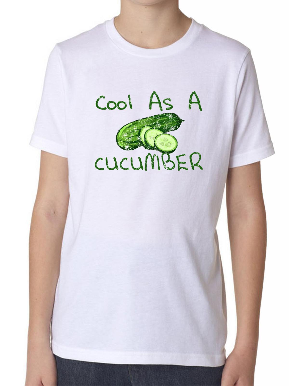 8d826226 Hollywood Thread - Cool As A Cucumber - Green Vegetable Love Boy's Cotton  Youth T-Shirt - Walmart.com
