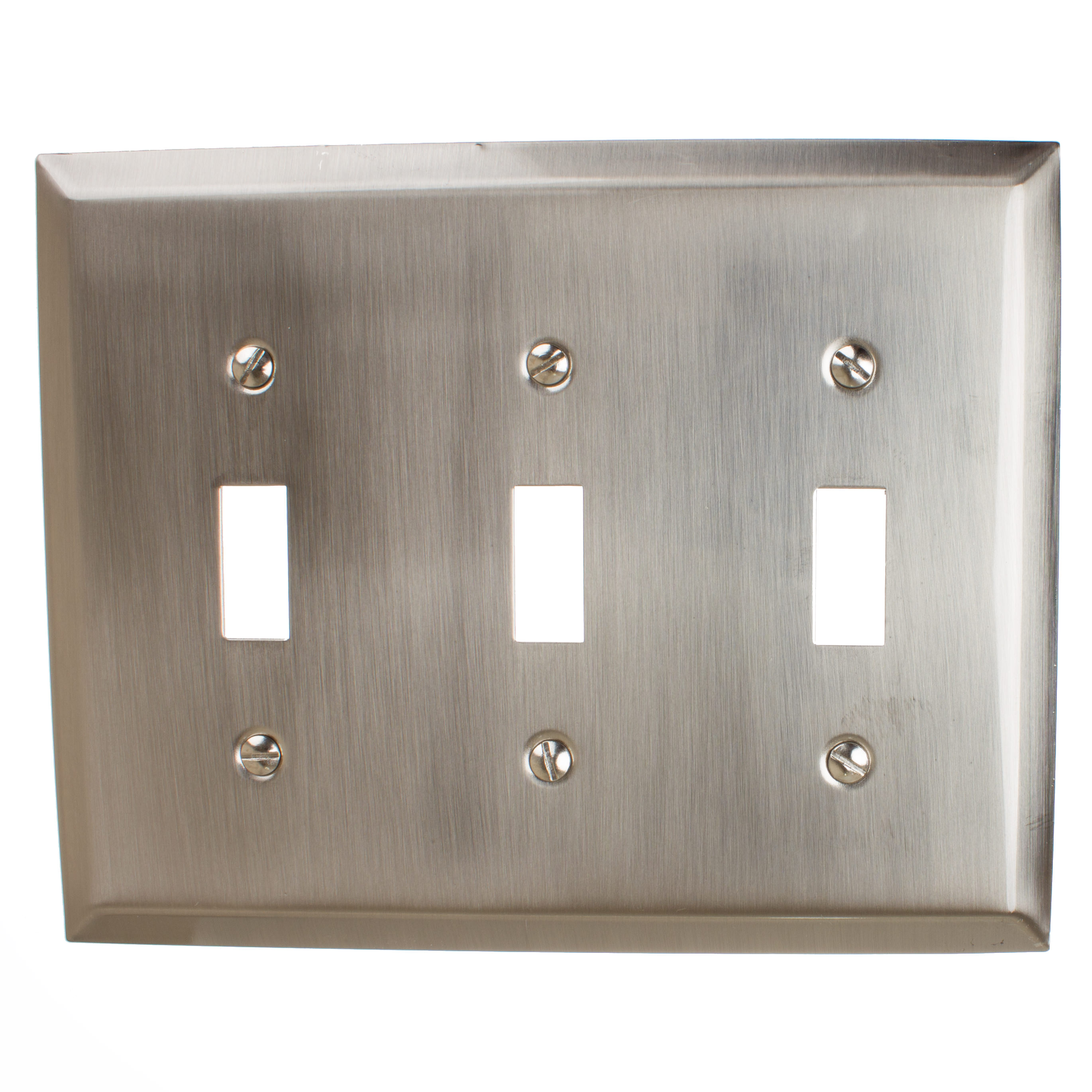 GlideRite Hardware Triple Toggle Light Switch 3-Gang Wall Plate Cover, Brushed Nickel