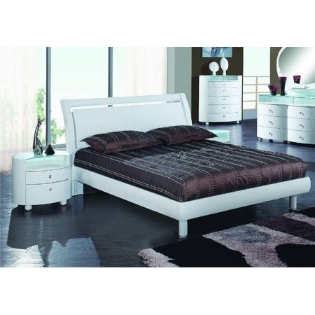 Contemporary White High Gloss Finish King Bedroom Set 3Pcs Cosmo Global United ()