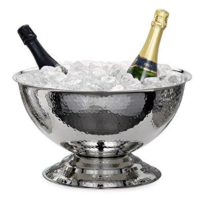 Torre & Tagus Kiro Hammered Stainless Steel Punch Bowl Wi...