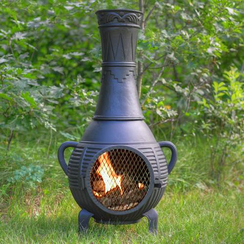 Outdoor Chiminea Fireplace Pine in Charcoal Finish (Without Gas) by The Blue Rooster