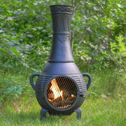 Outdoor Chimenea Fireplace - Pine in Charcoal Finish (Without Gas)
