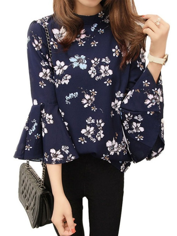 EFINNY Sweet Vogue Women Floral Chiffon Shirt Long Trumpet Sleeve Loose T-Shirt Casual Blouse Tops
