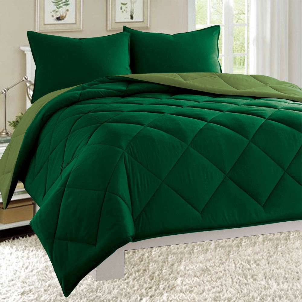 Dayton Queen Size 3-Piece Reversible Comforter Set Soft Brushed Microfiber Quilted Bed Cover Hunter & Sage Green