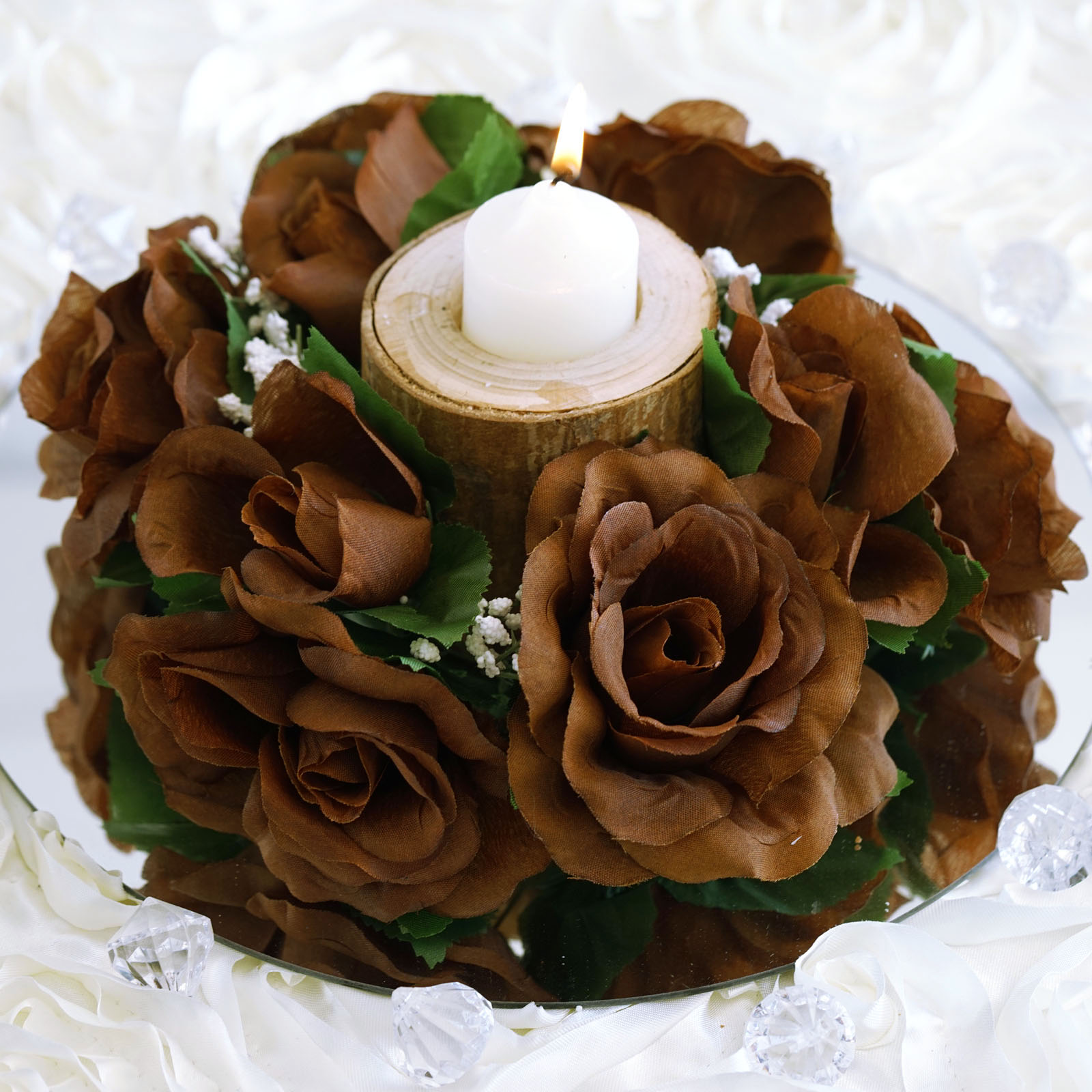 Balsacircle 8 Silk Roses Flowers Candle Rings Wedding Centerpieces