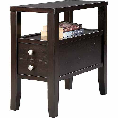 """Traditional Dark Espresso with 2 Drawers Side/End Table, 24"""""""
