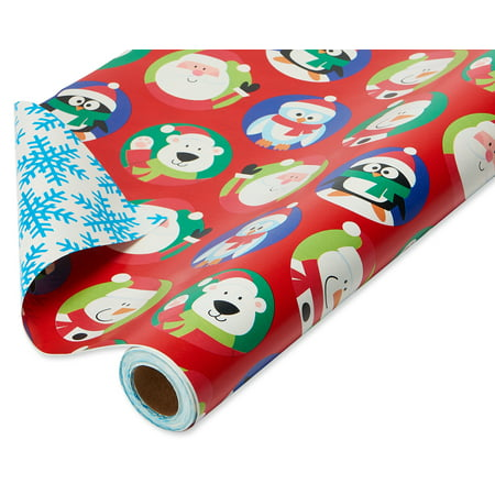 American Greetings Christmas Jumbo Reversible Wrapping Paper, Santa with Characters and Snowflakes Roll, 30