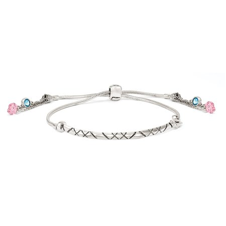 Sterling Silver Swarovski Crystal Briolette Adjustable Bracelet (Weight: 9.5 Grams, Length: Inches) - image 2 de 2