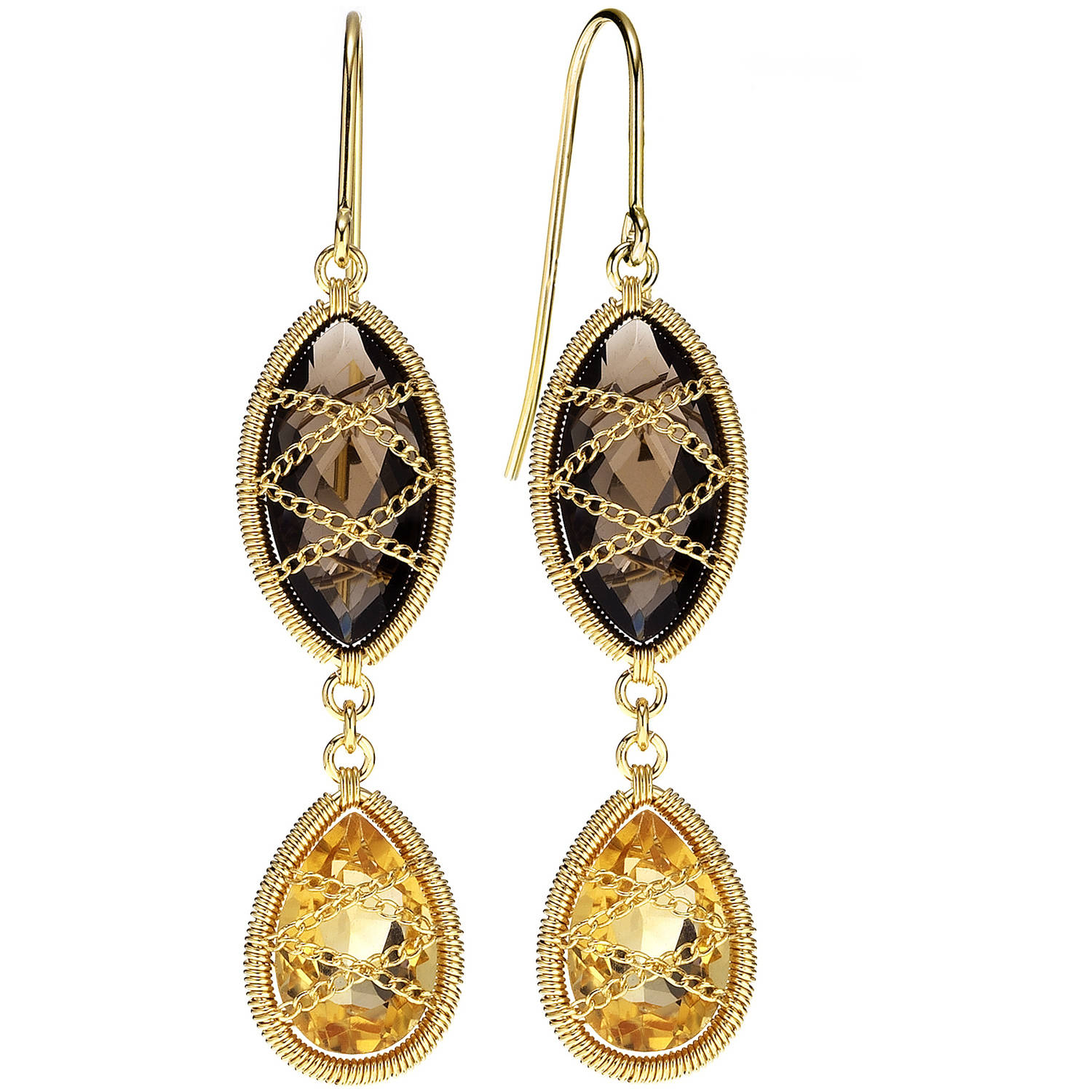 Image of 5th & Main 18kt Gold over Sterling Silver Hand-Wrapped Double Drop Smokey Quartz and Citrine Stone Earrings