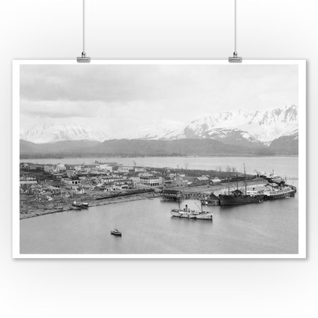 Seward, Alaska View of Town and Ships in Harbor Photograph (9x12 Art Print, Wall Decor Travel Poster)