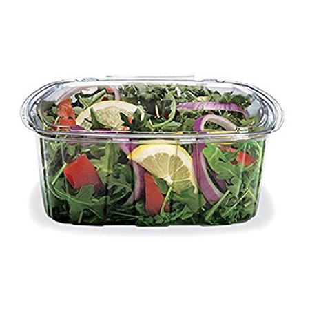 16 Ounce Plastic Lid - Placon TCS16, 16-Ounce Crystal Seal Tamper-Resistant Clear Container with Lid, Disposable Plastic Take Out Food Catering Containers with Matching Covers (50)