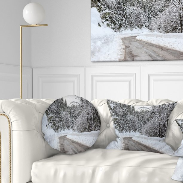 Design Art Designart Foggy Winter Road In Slovenia Landscape Printed Throw Pillow Walmart Com Walmart Com