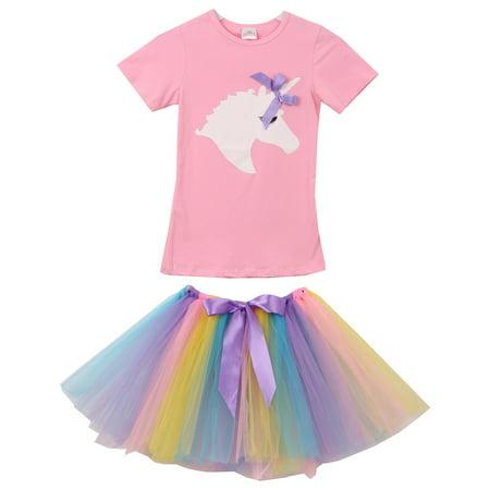 25ab6174f Dreamer P - Little Girls 2 Pieces Skirt Set Unicorns T-Shirt Top Tutu Tulle  Skirt Set Outfit Pink 3T S (P201463P) - Walmart.com