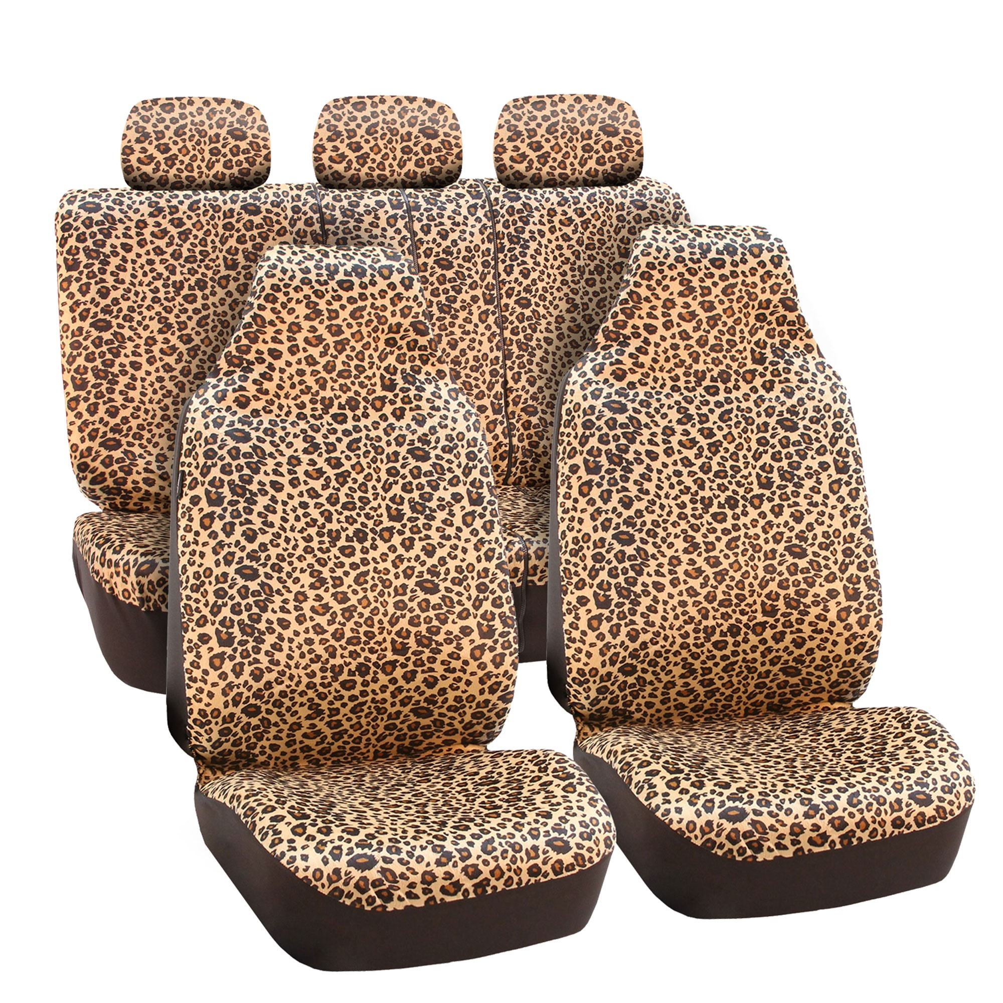 FH Group Leopard Print Seat Covers, Side Airbag Compatible, with Split Bench Function, Full Set.
