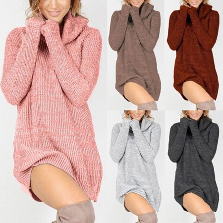 Womens Cowl Neck Loose Long Sleeve Oversize Sweater Jumper Shirt Tops Mini (Solid Cowl Neck Sweater)
