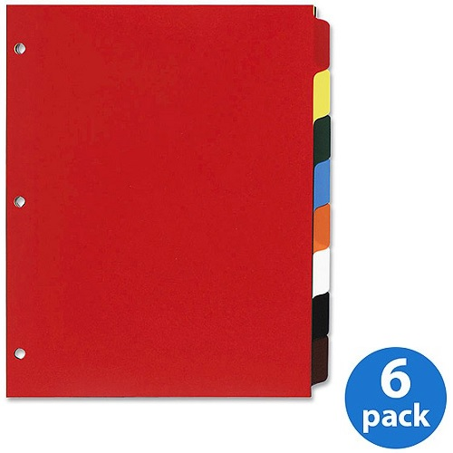(6 Pack) Sparco, SPR01810, Non-Insertable Poly Indexes, 1 Set