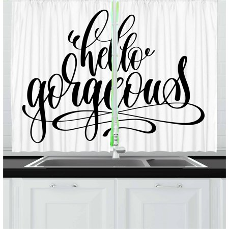 Hello Gorgeous Curtains 2 Panels Set, Unique Handwriting Style Font Calligraphy Phrase on White Background, Window Drapes for Living Room Bedroom, 55W X 39L Inches, Black and White, by Ambesonne